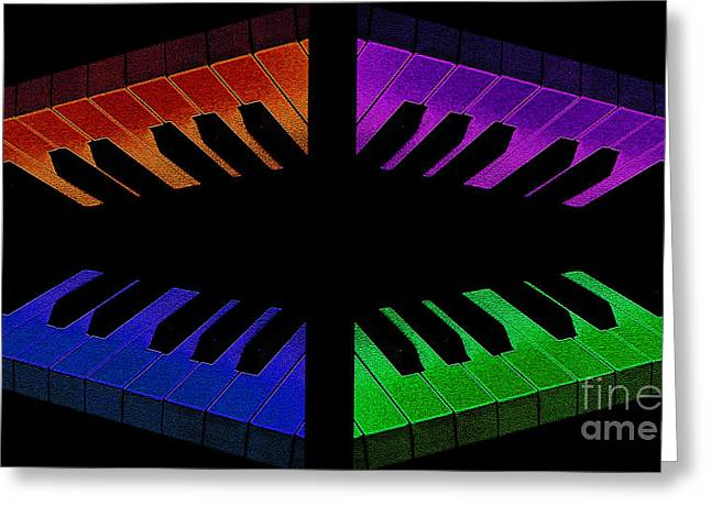 Equipment Mixed Media Greeting Cards - Piano Round Greeting Card by Andee Design