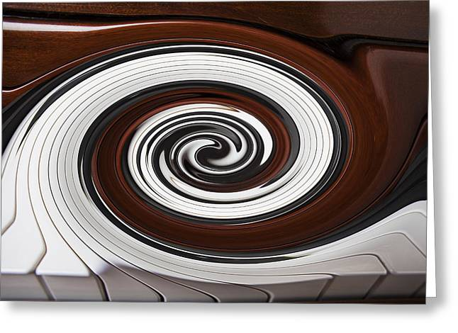 Piano Keys Greeting Cards - Piano Swirl Greeting Card by Garry Gay