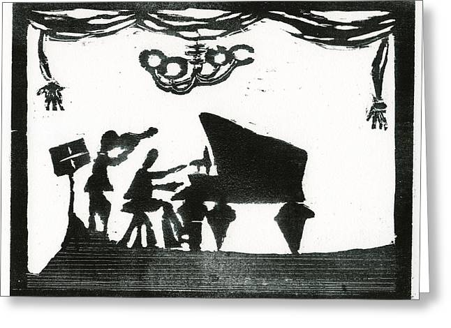 Print Reliefs Greeting Cards - Piano Violin duo Greeting Card by Barbara M Wilson