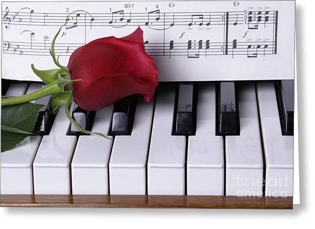 Piano With Red Rose Greeting Card by SAJE Photography
