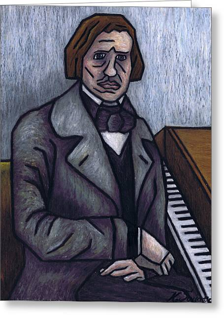Cubist Pastels Greeting Cards - Pianos Finest Poet Fryderyk Chopin Greeting Card by Kamil Swiatek