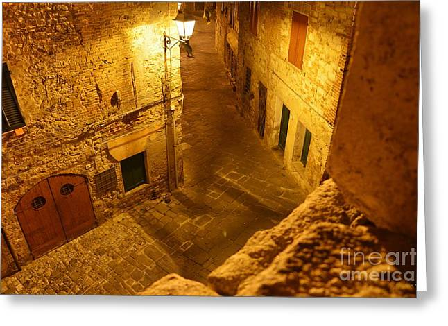 Piazza By Night In Tuscany Greeting Card by Ramona Matei