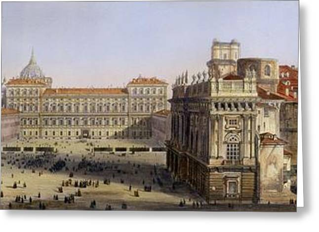 Torino Greeting Cards - Piazza Castello, Turin, Engraved By F Greeting Card by Carlo Bossoli