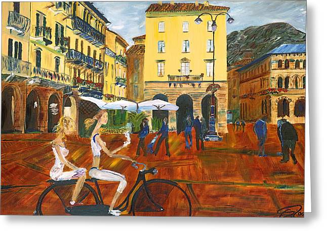 Gregory A Page Greeting Cards - Piazza da Como Greeting Card by Impressionism Modern and Contemporary Art  By Gregory A Page