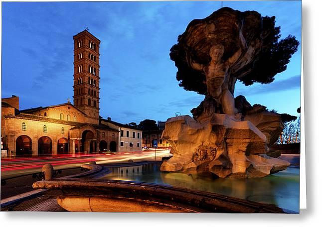 Dei Greeting Cards - Piazza della Bocca della Verita Greeting Card by Fabrizio Troiani