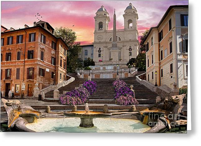 Piazza Di Spagna Greeting Card by Dominic Davison