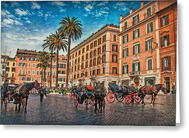 Himmel Greeting Cards - Piazza di Spagna Greeting Card by Hanny Heim