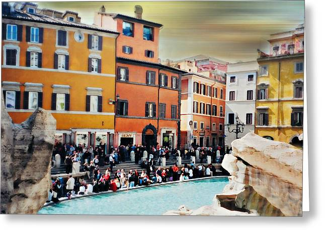 Italian Landscapes Greeting Cards - Piazza di Trevi Greeting Card by Diana Angstadt