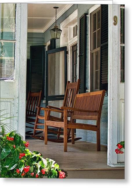 Side Porch Greeting Cards - Welcome Yall Greeting Card by Ed Waldrop
