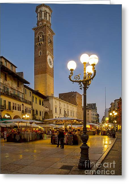 Italian Market Greeting Cards - Piazza Erbe - Verona Greeting Card by Brian Jannsen