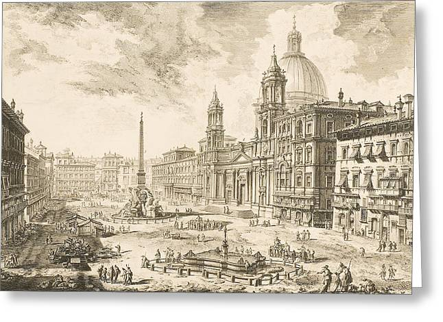 Town Square Drawings Greeting Cards - Piazza Navona Greeting Card by Giovanni Battista Piranesi
