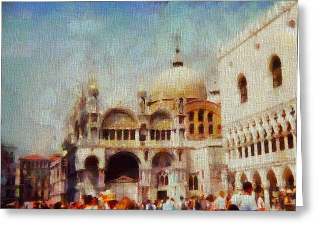 Saint Hope Greeting Cards - Piazza San Marco Greeting Card by Dan Sproul