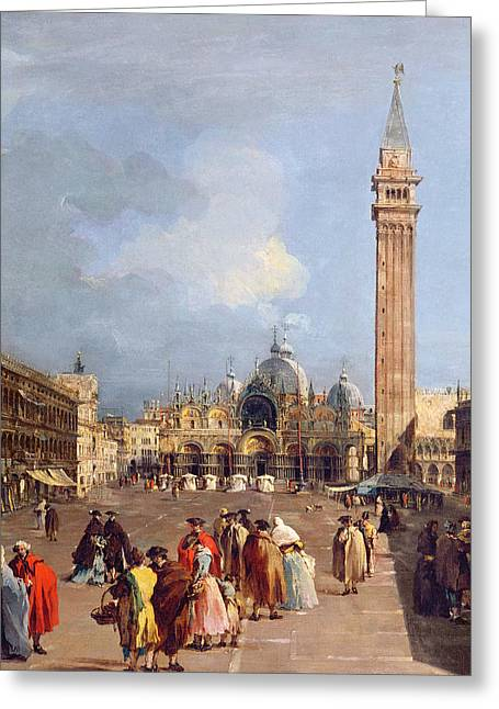 Exterior Greeting Cards - Piazza San Marco, Venice, C.1760 Oil On Canvas Detail Greeting Card by Francesco Guardi