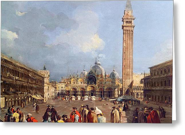 Piazza San Marco, Venice Greeting Card by Francesco Guardi