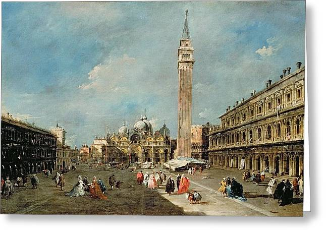 Townscapes Greeting Cards - Piazza San Marco, Venice, C.1775-80 Greeting Card by Francesco Guardi