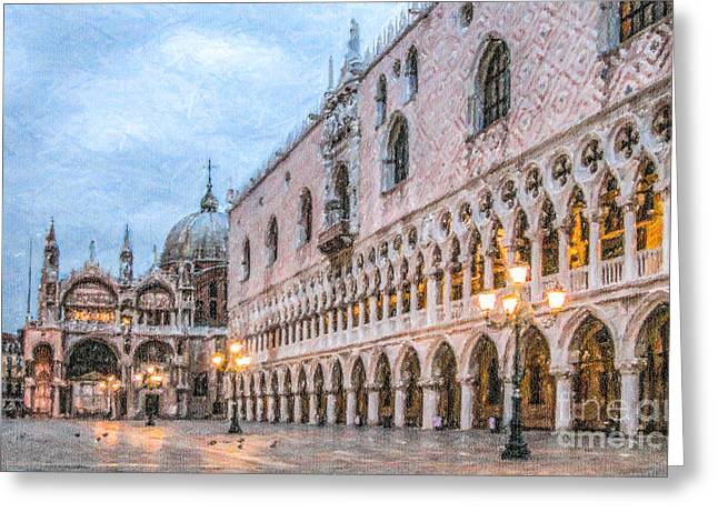 Venezia Greeting Cards - Piazza San Marco Venice Greeting Card by Liz Leyden