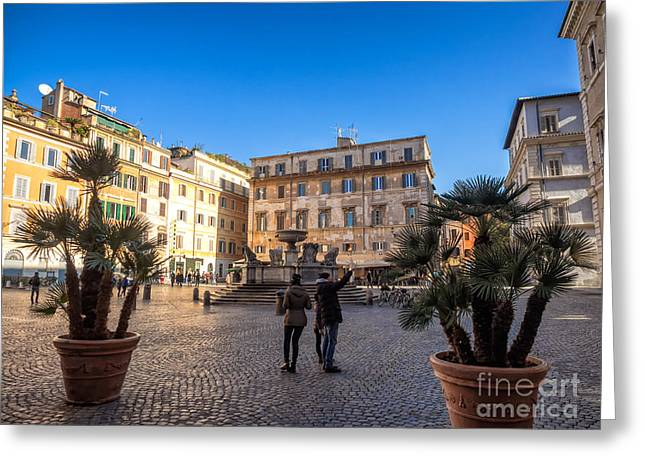 Trastevere Greeting Cards - Piazza Santa Maria in Trastevere  Greeting Card by Frank Bach