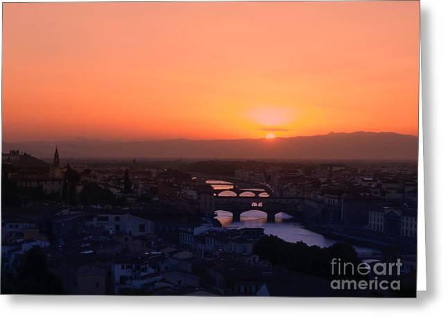 Sundown Framed Prints Greeting Cards - Piazzale Michelangelo Greeting Card by Brothers Beerens