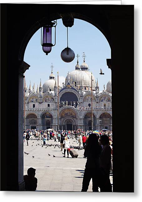 Basilica San Marco Greeting Cards - Piazzo San Marco 1 Greeting Card by Ellen Henneke