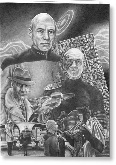 Jean Luc Picard Greeting Cards - Picard Black and White Greeting Card by Jonathan W Brown