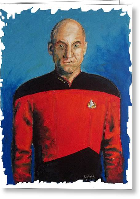 Enterprise Paintings Greeting Cards - Picard Greeting Card by Rob Spitz