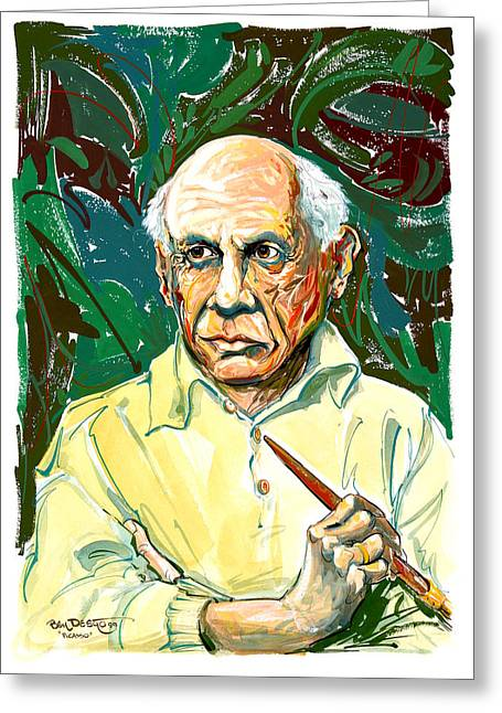 Pablo Mixed Media Greeting Cards - Picasso Greeting Card by Ben De Soto