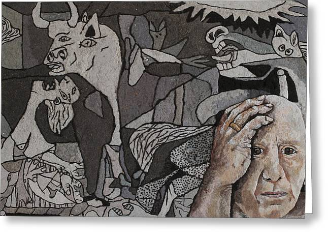 Pablo Mixed Media Greeting Cards - Picasso in Dryer Lint Greeting Card by Heidi Hooper