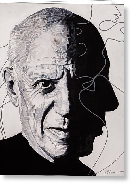 Pablo Picasso Paintings Greeting Cards - Picasso in Light Sketch Greeting Card by Joe Ciccarone