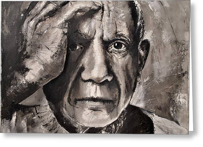 Pablo Picasso Paintings Greeting Cards -  Portrait of Pablo Picasso Greeting Card by Maja Sokolowska