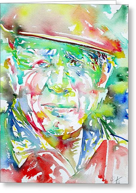 Pablo Picasso Paintings Greeting Cards - Picasso Pablo Watercolor Portrait.1 Greeting Card by Fabrizio Cassetta
