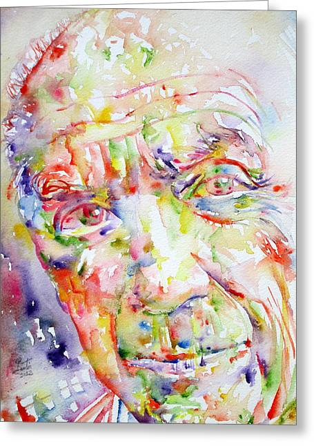Pablo Picasso Greeting Cards - Picasso Pablo Watercolor Portrait.2 Greeting Card by Fabrizio Cassetta