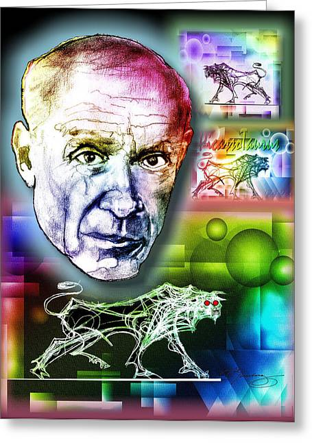 Pablo Picasso Greeting Cards - Picasso Portrait Greeting Card by Dean Gleisberg