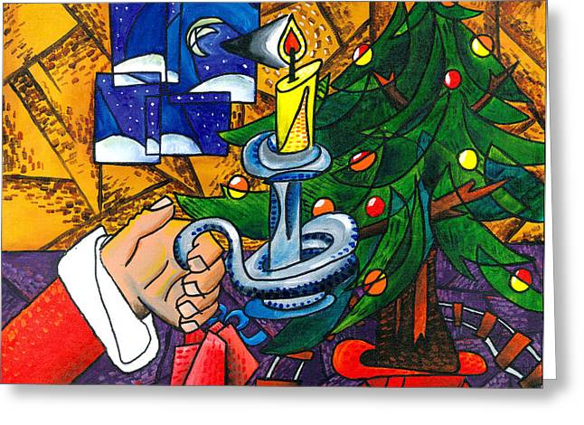 Pablo Picasso Greeting Cards - Picasso STYLE Christmas Tree - Cover Art Greeting Card by E Gibbons