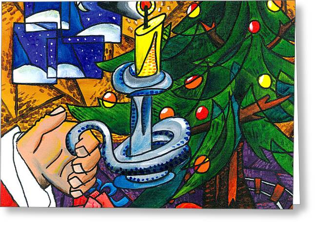 Pablo Greeting Cards - Picasso Style Christmas Tree Greeting Card by E Gibbons
