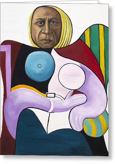 Picasso Greeting Cards - Picassos Worst Nightmare WIP Greeting Card by Leah Saulnier The Painting Maniac