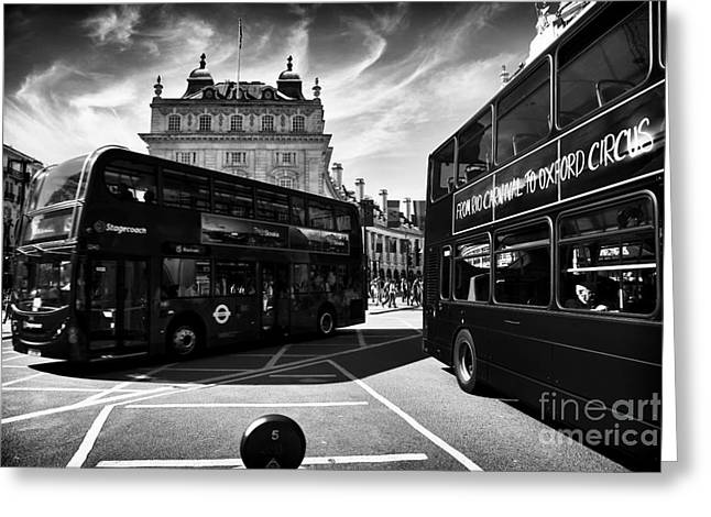 School Bus Print Greeting Cards - Piccadilly Buses Greeting Card by John Rizzuto