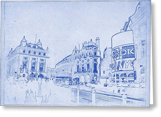Justin Woodhouse Greeting Cards - Piccadilly Circus Blueprint Greeting Card by Justin Woodhouse