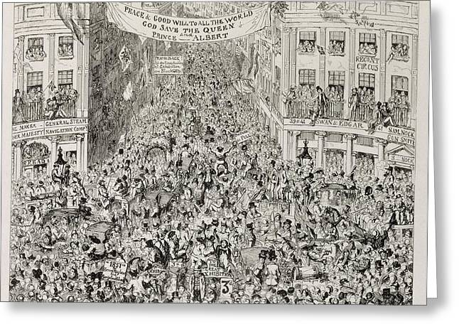 West End Greeting Cards - Piccadilly during the Great Exhibition Greeting Card by George Cruikshank
