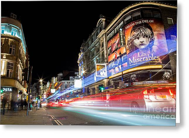 Streetlight Greeting Cards - Piccadilly Lights Greeting Card by John Daly