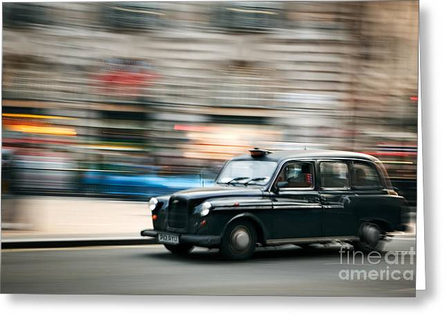 Taxi Greeting Cards - Piccadilly Taxi Greeting Card by Rod McLean