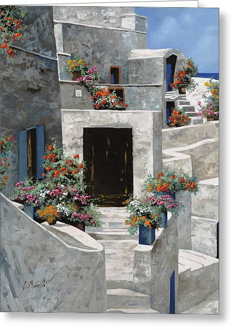 Greece Greeting Cards - piccole case bianche di Grecia Greeting Card by Guido Borelli