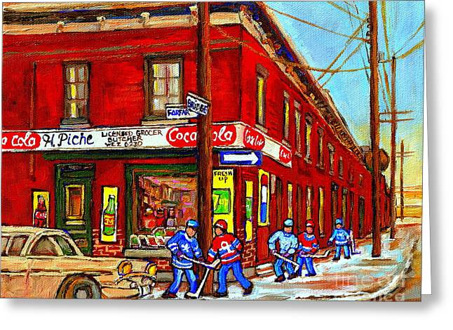 Piche's Grocery Store Bridge Street And Forfar Goosevillage Montreal Memories By Carole Spandau Greeting Card by Carole Spandau
