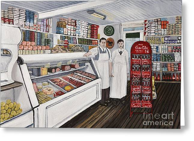 Montreal Stores Greeting Cards - Piches On Bridge Street and Forfar Greeting Card by Reb Frost