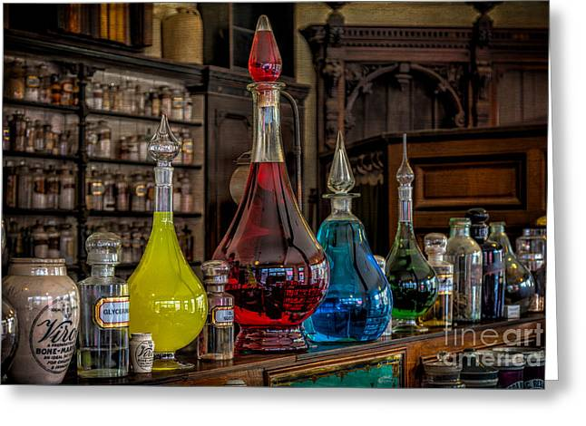 Recently Sold -  - Glass Bottle Greeting Cards - Pick An Elixir Greeting Card by Adrian Evans