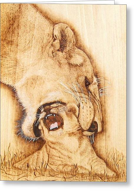 Original Pyrography Greeting Cards - Pick Me UP Greeting Card by Roger Storey