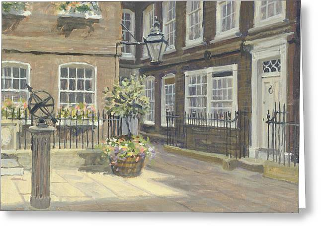 Courtyard Greeting Cards - Pickering Place, St. Jamess Oil On Canvas Greeting Card by Julian Barrow