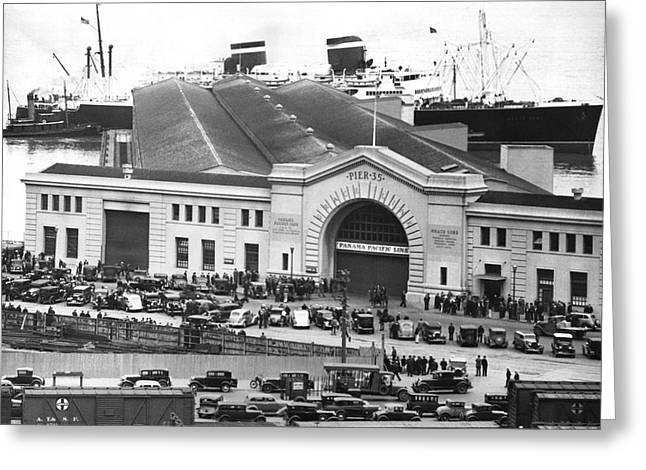 Pickets At The Sf Docks. Greeting Card by Underwood Archives