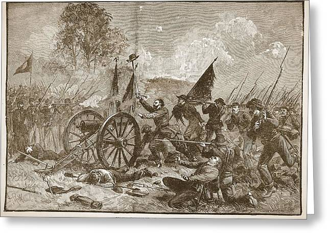 Cannon Drawings Greeting Cards - Picketts Charge At Gettysburg Greeting Card by Alfred R. Waud