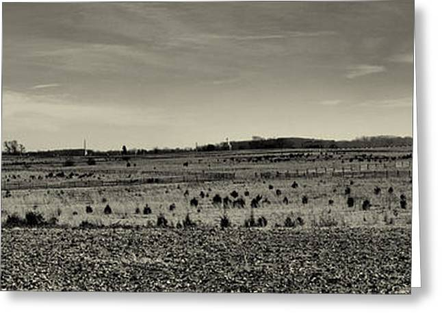 Cemetery Ridge Greeting Cards - Picketts Charge from Seminary Ridge in Black and White Greeting Card by Joshua House