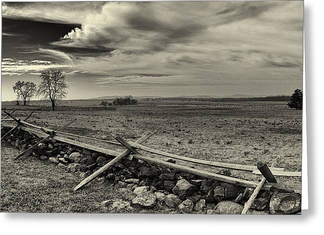 The General Lee Photographs Greeting Cards - Picketts Charge The Angle Black and White Greeting Card by Joshua House